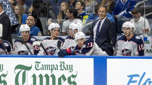 Columbus Blue Jackets head coach John Tortorella looks on during a game against the Tampa Bay Lightning.