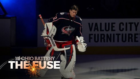 Columbus Blue Jackets goaltender Sergei Bobrovsky is introduced pre-game at Nationwide Arena.