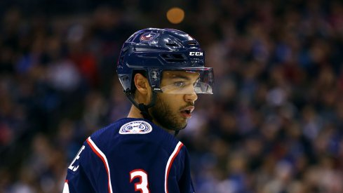 Columbus Blue Jackets defenseman Seth Jones looks on during a game against the New York Rangers at Nationwide Arena in Columbus, Ohio.