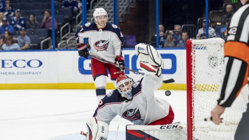 Columbus Blue Jackets goaltender Sergei Bobrovsky can't stop a puck as the Blue Jackets took an 8-2 loss to Tampa Bay at Amalie Arena.