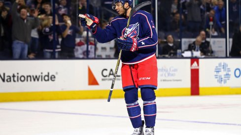 Columbus Blue Jackets defenseman Seth Jones celebrates a power play goal against the Montreal Canadiens at Nationwide Arena.
