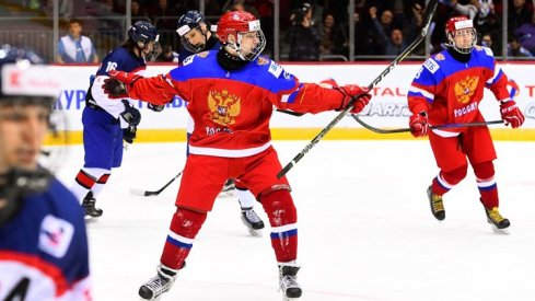 Kirill Marchenko celebrates a goal against Slovakia at the Under-18 World Championships