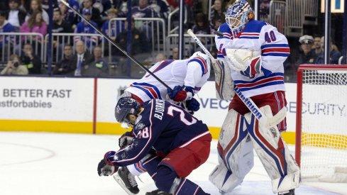 Oliver Bjorkstrand attempts to screen the New York Rangers goaltender.