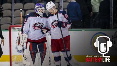 Sergei Bobrovsky and David Savard talk after a hard fought win against the Dallas Stars.