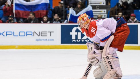 Daniil Tarasov prepares for Team QMJHL in Game 6 in the 2018 Canada-Russia Series