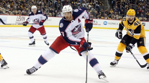 Seth Jones looks to make a play as the Blue Jackets fell to the Pittsburgh Penguins