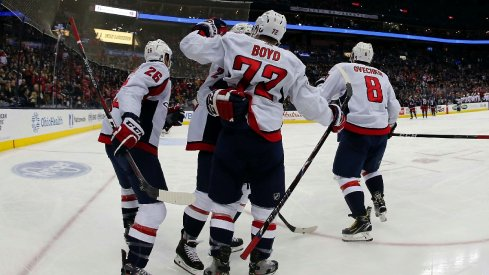 Travis Boyd celebrates a goal as the Washington Capitals easily defeated the Blue Jackets by a 4-0 score.