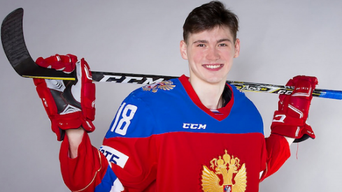 Kirill Marchenko poses for a photo showing off his Team Russia duds