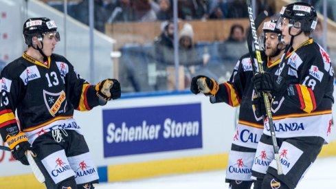 Alexandre Texier of KalPa Kuopio celebrates scoring a goal in the 2018 Spengler Cup
