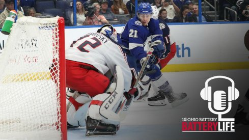 Sergei Bobrovsky attempts to save the puck against the Tampa Bay Lightning.