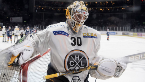 Columbus Blue Jackets goalie prospect Elvis Merzlikins during a game for HC Lugano in Switzerland.