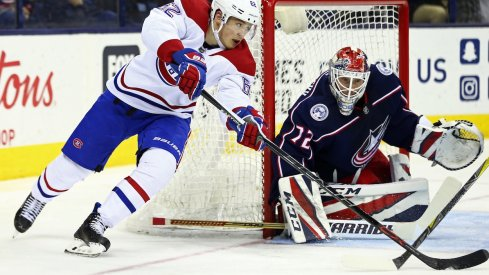 Sergei Bobrovsky defends his net against the Montreal Canadiens