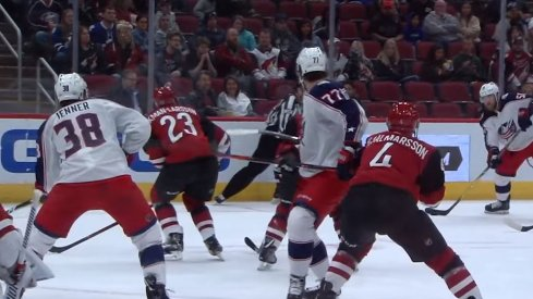 David Savard attempts to find a lane to unleash a shot against the Arizona Coyotes.
