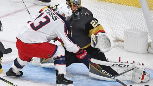 Marc-Andre Fleury makes a toe save against Cam Atkinson at T-Mobile Arena