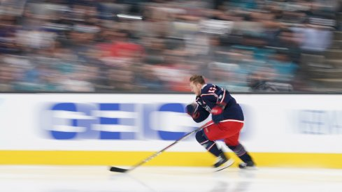 Cam Atkinson competes in the fastest skater competition for the 2019 All-Star Game