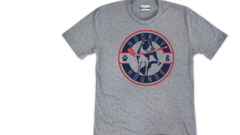 The official Hockey and Hounds t-shirt from Where I'm From, with proceeds benefitting animal welfare efforts in Ohio.
