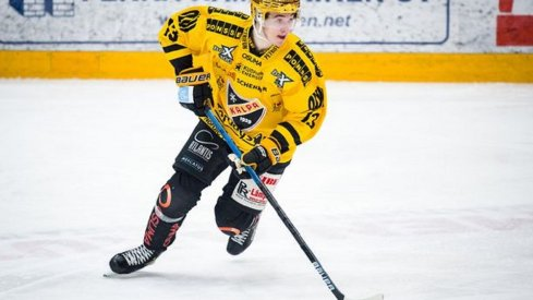 Alexandre Texier skates with the puck in his last game with KalPa