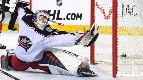 Sergei Bobrovsky sees one get by him in Edmonton.
