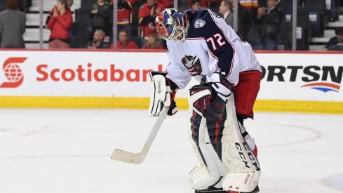 Sergei Bobrovsky shows disappointment during a 4-2 loss to the Calgary Flames on March 19.