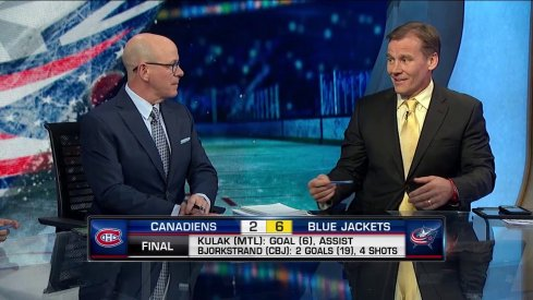 NHL Network analysts Darren Pang (left) and Bill Lindsay (right) discuss the Columbus Blue Jackets' 6-2 win over the Montreal Canadiens.