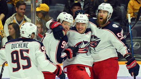Cam Atkinson scored his 40th and 41st of the season in Nashville.