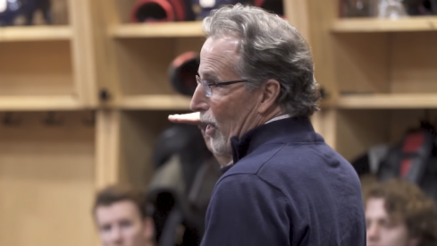 Columbus Blue Jackets head coach John Tortorella addresses his team prior to facing the Montreal Canadiens at Nationwide Arena.