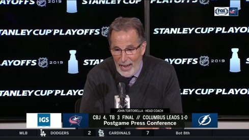 Columbus Blue Jackets head coach John Tortorella addresses the media after his team's 4-3 Game 1 win over the Tampa Bay Lightning.
