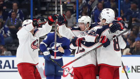 Seth Jones celebrates what would be the wining goal in the Blue Jackets' Game 1 win in Tampa Wednesday night.