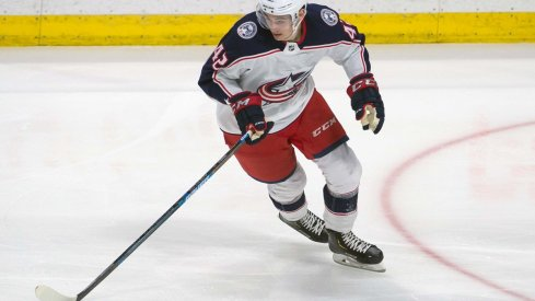 19-year-old rookie forward Alexandre Texier skates for the Columbus Blue Jackets.