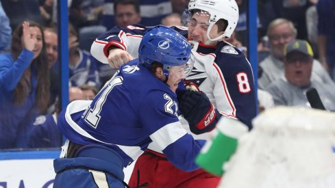 Zach Werenski recorded a Gordie Howe hat trick for the Columbus Blue Jackets on Friday night, the first in playoff franchise history.