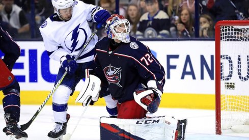 Columbus Blue Jackets goaltender Sergei Bobrovsky (72) watches the puck in front of Tampa Bay Lightning center Tyler Johnson (9) during the second period in game three of the first round of the 2019 Stanley Cup Playoffs at Nationwide Arena.