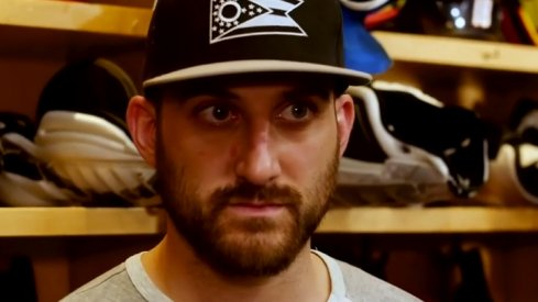 Nick Foligno talks to the assembled media after Game 3 of the 2019 Stanley Cup Playoffs