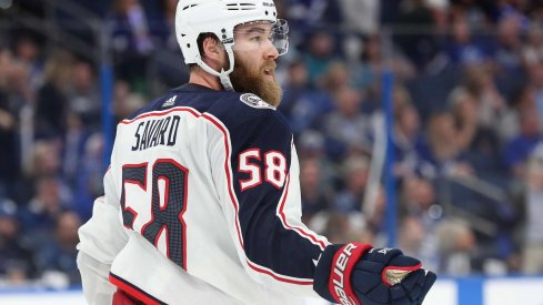 Columbus Blue Jackets defenseman David Savard (58) during the third period of game two of the first round of the 2019 Stanley Cup Playoffs at Amalie Arena.