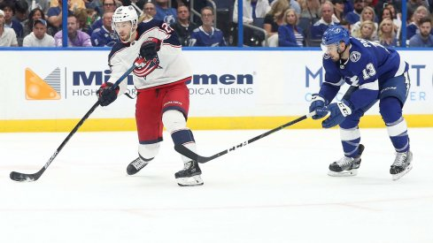 Columbus Blue Jackets forward Oliver Bjorkstrand shoots during the second period of Game 2 at Amalie Arena.