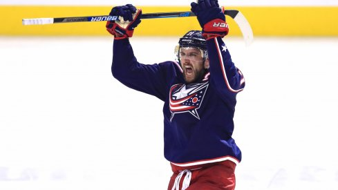 Nick Foligno pumps up the crowd after the Columbus Blue Jackets swept the Tampa Bay Lightning.