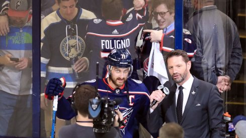 Nick Foligno talks to Jody Shelley after the Blue Jackets' Game 4 win over the Tampa Bay Lightning.