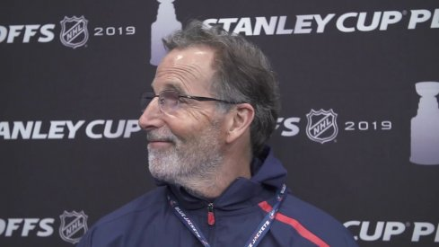 Columbus Blue Jackets head coach John Tortorella addresses the media after a practice during the 2019 Stanley Cup Playoffs.