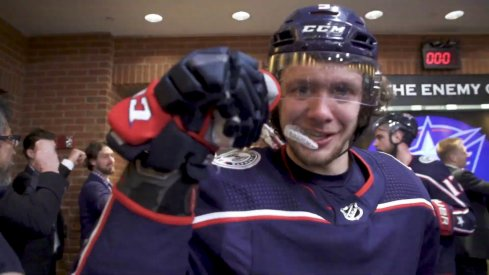 Artemi Panarin celebrates after the Blue Jackets win their first playoff series in franchise history