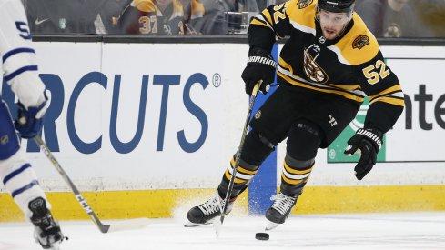 Sean Kuraly skates for the Boston Bruins
