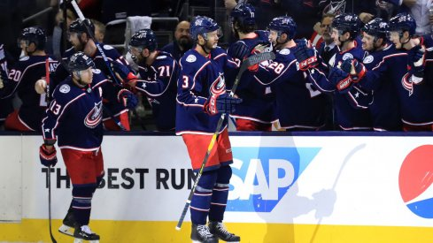 Seth Jones celebrates a goal in the playoffs.