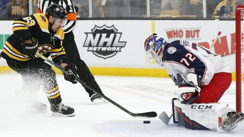 Sergei Bobrovsky shuts down Brad Marchand, one of many big saves on the night for the goalie.