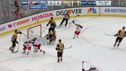 Columbus Blue Jackets forward Matt Duchene scores the game-winning goal against the Boston Bruins.