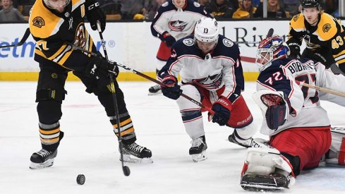 Cam Atkinson and Sergei Bobrovsky teamed up to rob Patrice Bergeron in Game 2.