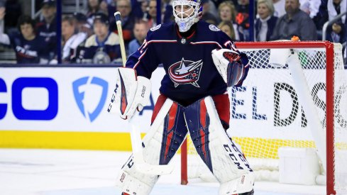 Columbus Blue Jackets goaltender Sergei Bobrovsky prepares to face a shot in the first round of the Stanley Cup Playoffs at Nationwide Arena.