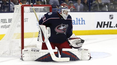 Apr 30, 2019; Columbus, OH, USA; Columbus Blue Jackets goaltender Sergei Bobrovsky (72) makes a glove save in net against the Boston Bruins in the second period during game three of the second round of the 2019 Stanley Cup Playoffs at Nationwide Arena.