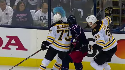 Charlie McAvoy lays a bad hit on Josh Anderson late in the second period of Bruins-Blue Jackets