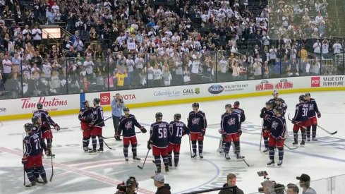 Fans at Nationwide Arena saluted their Blue Jackets following their series loss to Boston.