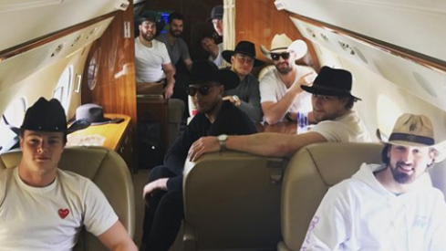 A large group of Columbus Blue Jacket players flew down to Nashville to unwind after their second round playoff loss.
