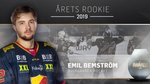 Columbus Blue Jackets prospect Emil Bemstrom named the SHL's Rookie of the Year.