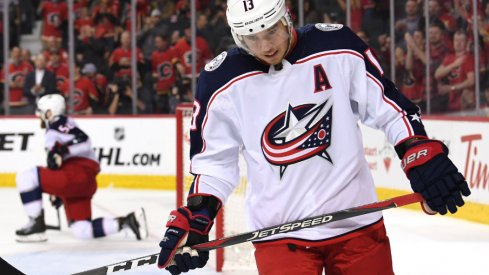 Blue Jackets forward Cam Atkinson reacts after Calgary scores an empty-net goal at the Scotiabank Saddledome